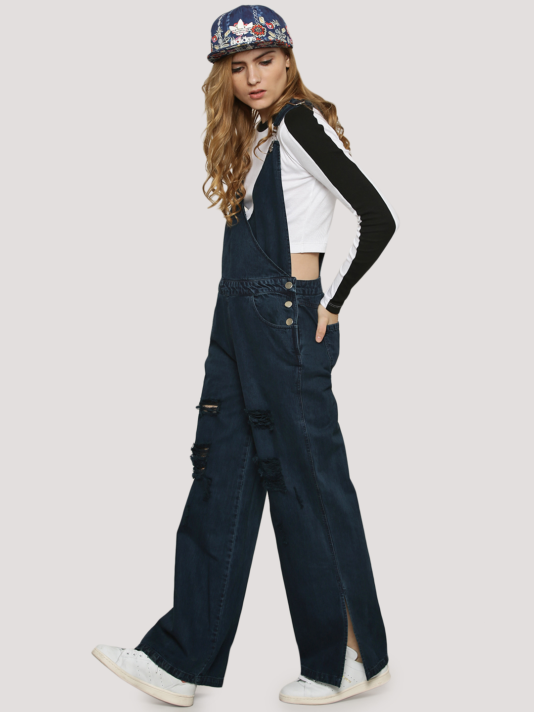 KOOVS Mid Blue Wrap Front Wide Leg Dungarees 1