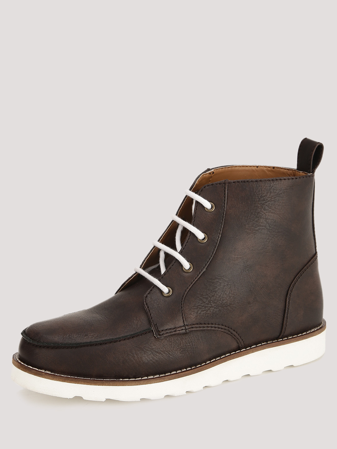 KOOVS Brown Mixed Material Lace Up Ankle Boots 1