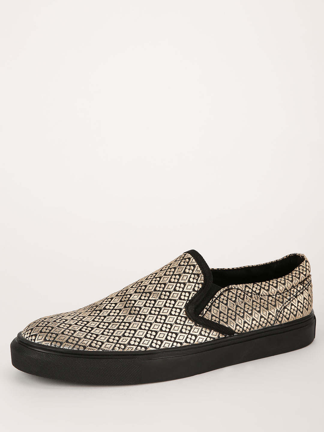 KOOVS Gold Slip On Cupsole With Exposed Elastic 1