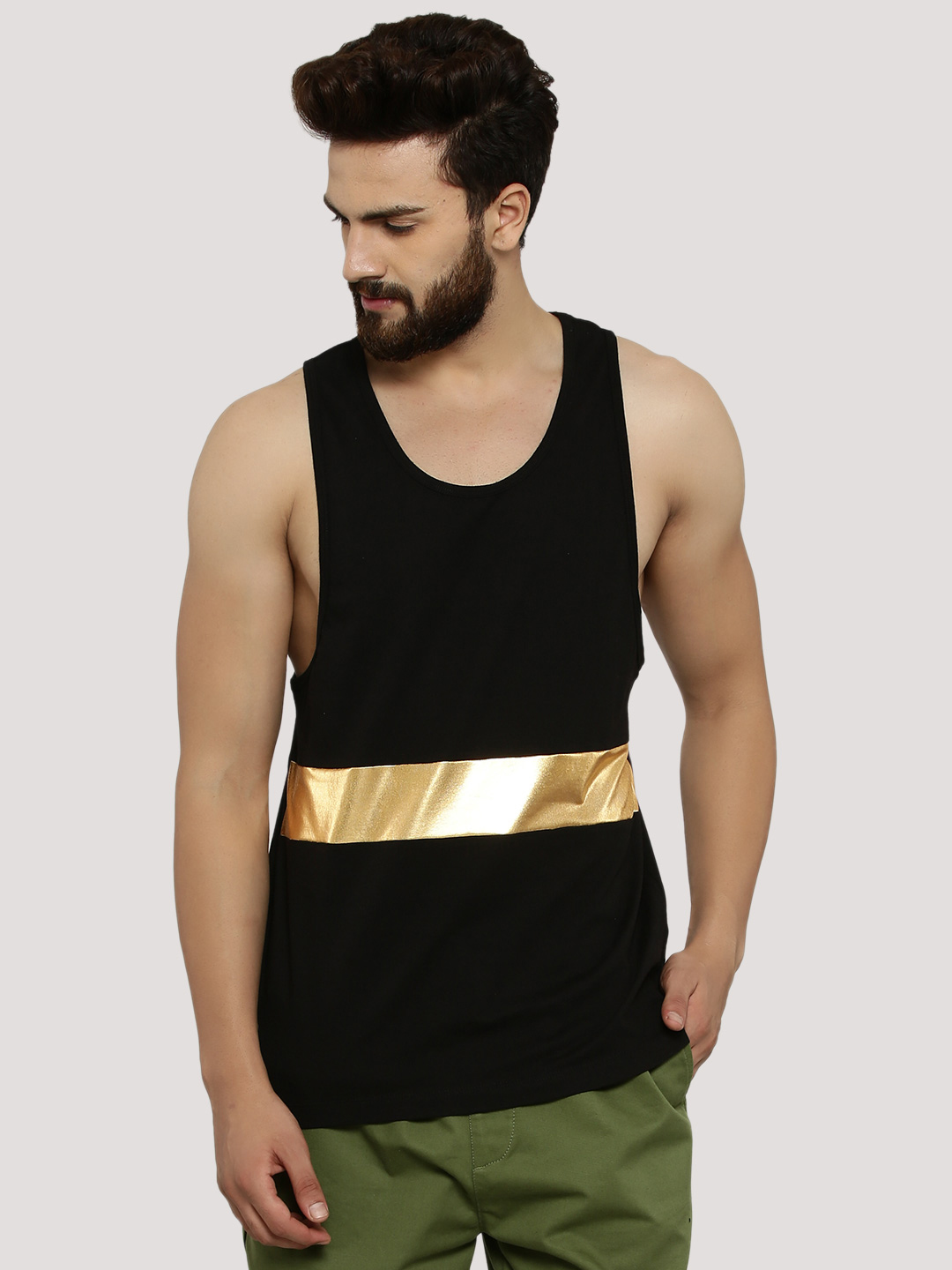 KOOVS Black Cut & Sew Panel Vest 1