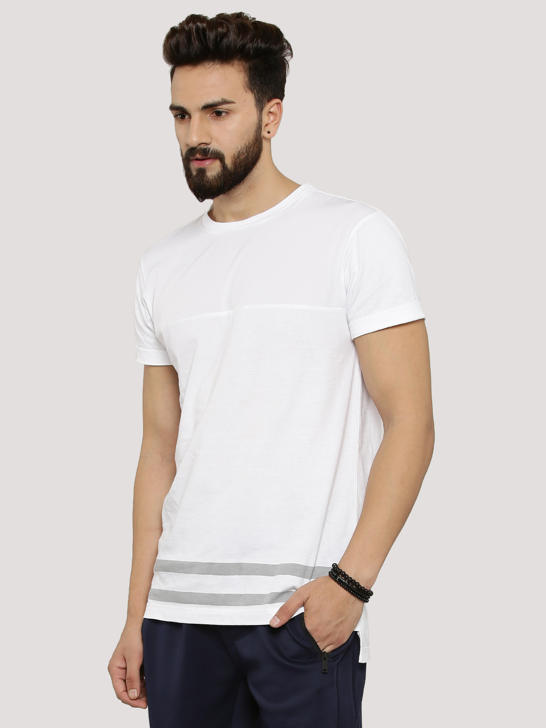KOOVS White Cut & Sew Panel T-Shirt 1