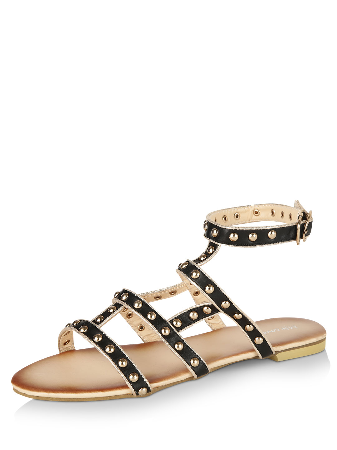 My Foot Couture Black Studded Gladiator Flats 1