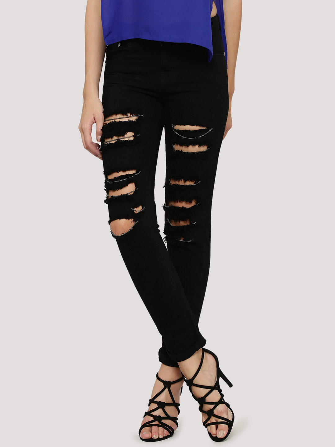 K Denim Black KOOVS  Chain Detail Skinny Jeans 1