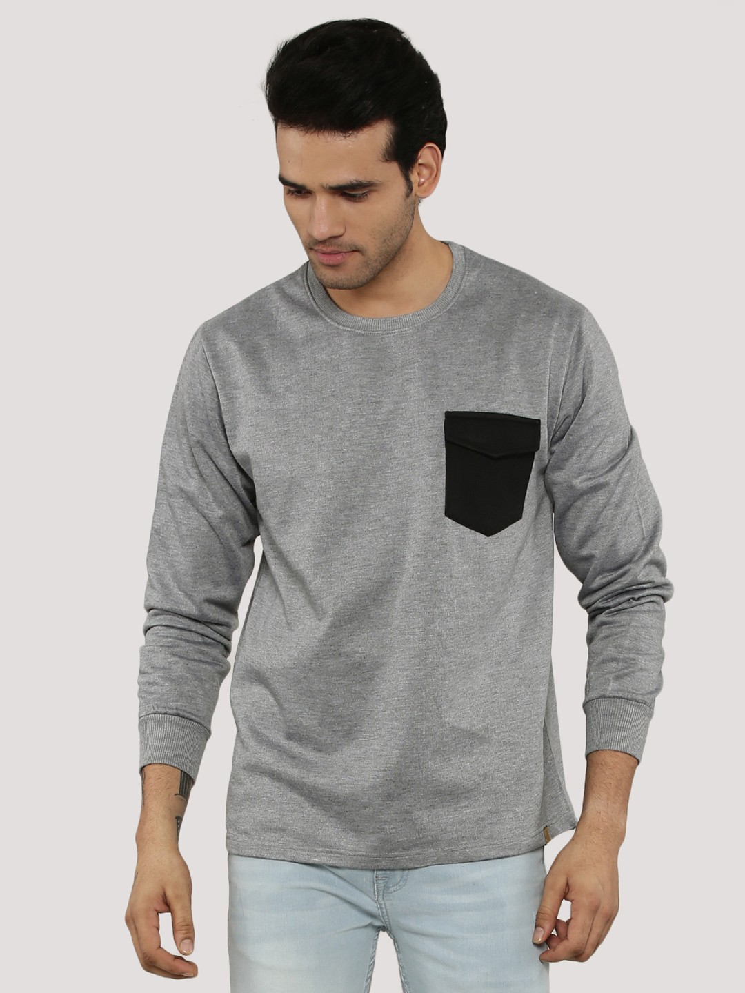Blotch Grey Contrast Snap Pocket Sweatshirt 1