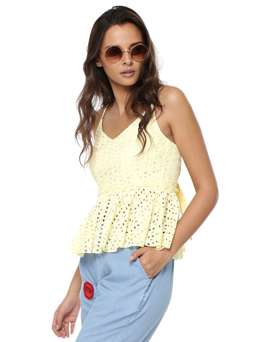 First and I Yellow FIRST & I Crochet Top 1