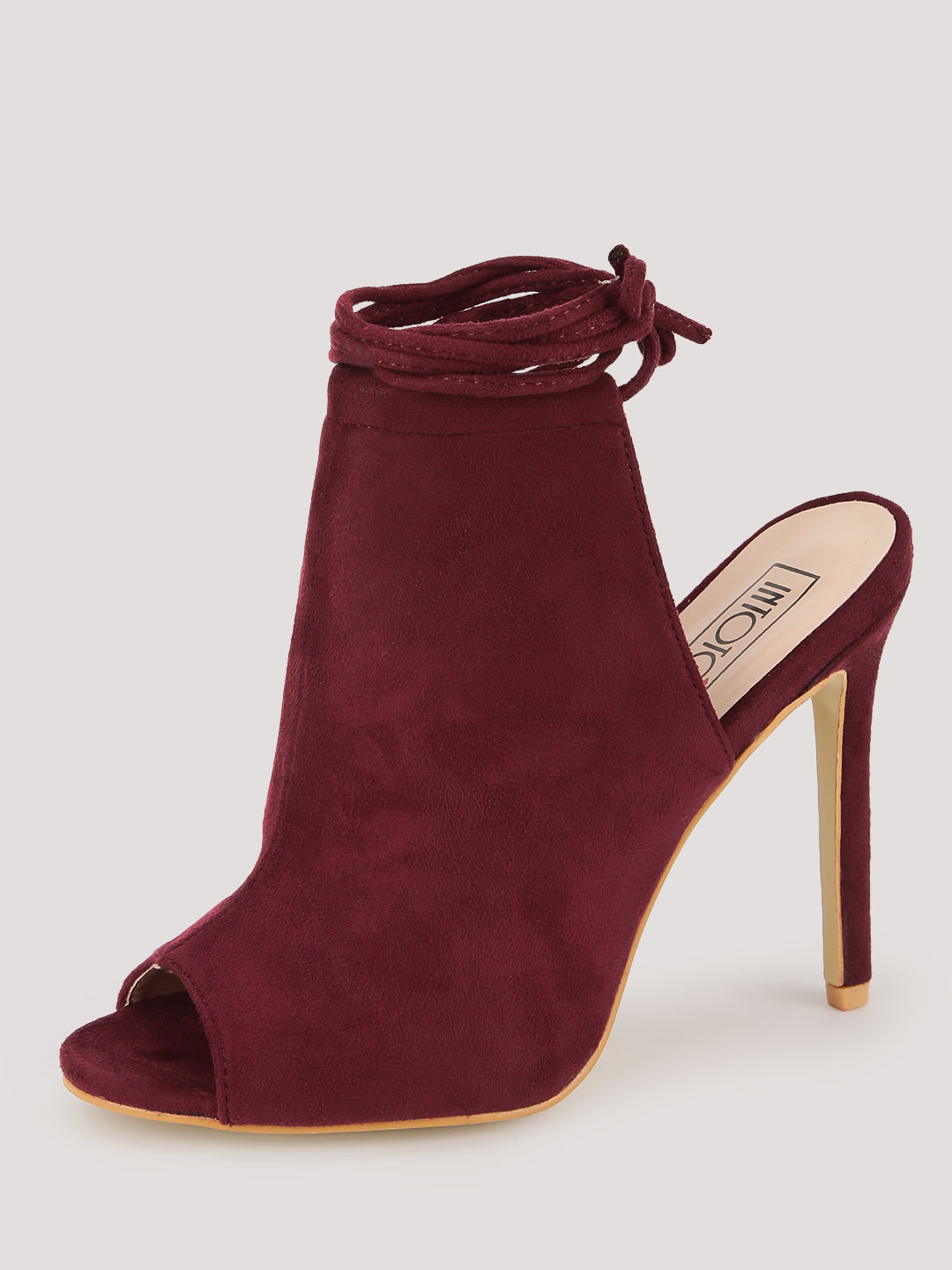 Intoto Burgundy Peep Toe Tie Up Sandals 1