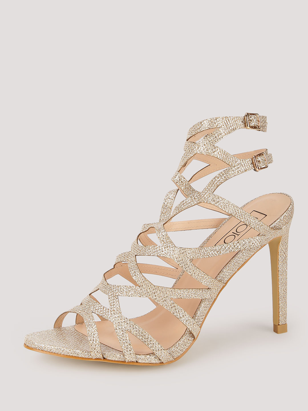 Intoto Gold Cross Strap Caged Heeled Sandals 1