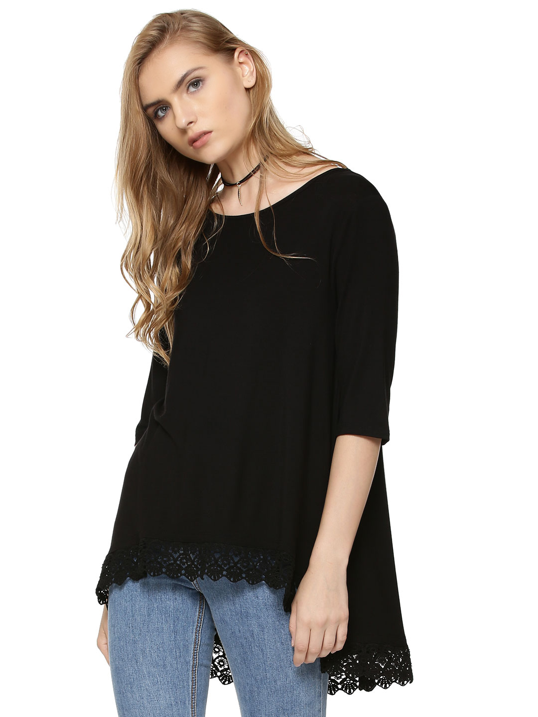 Femella Black Swing Top With Lace 1
