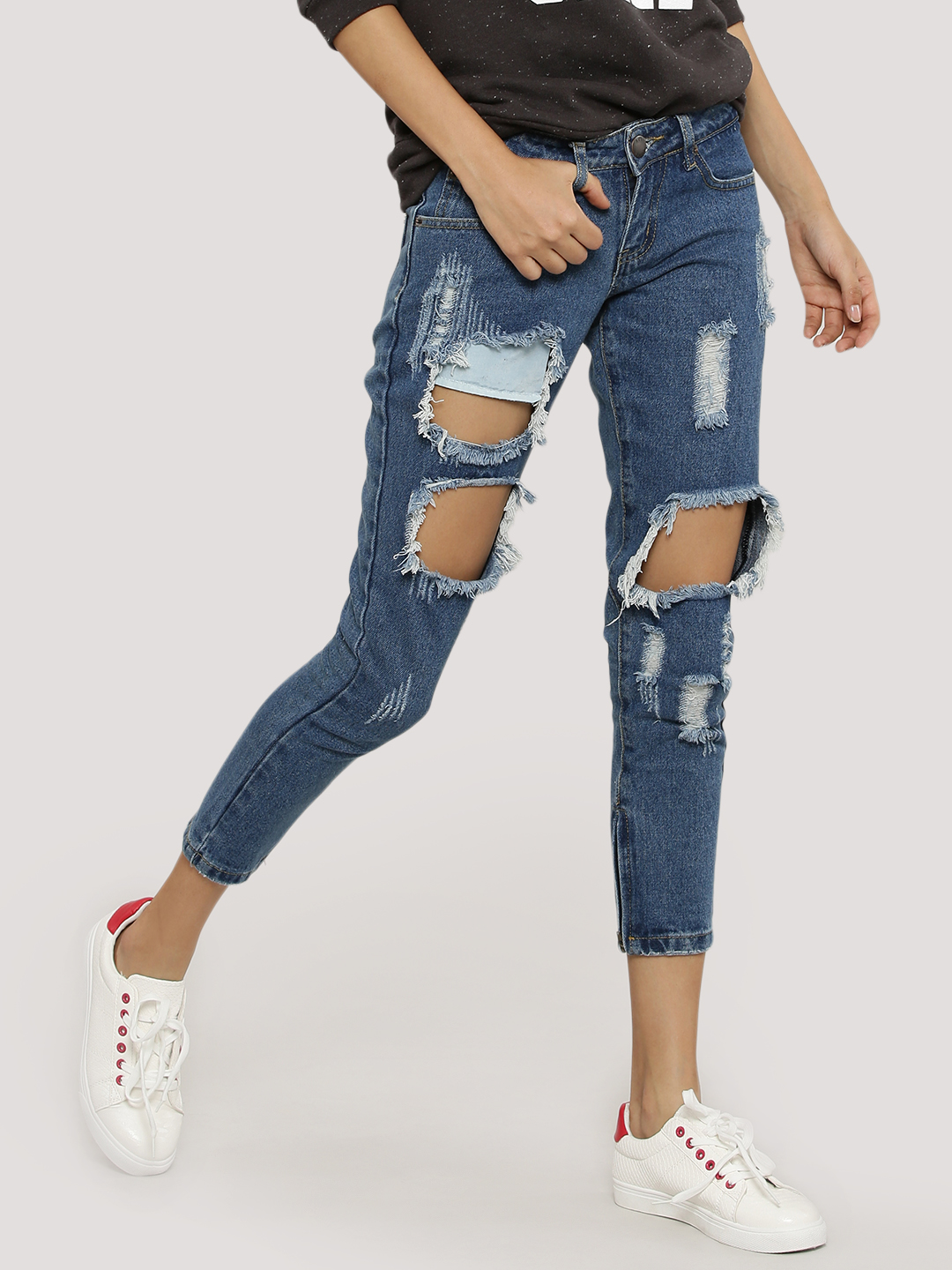 Liquor n Poker Blue Distressed Detail Skinny Jeans 1