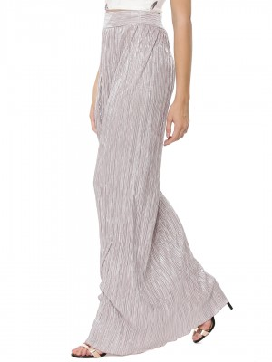 BOOHOO Metallic Pleat Maxi Ski...
