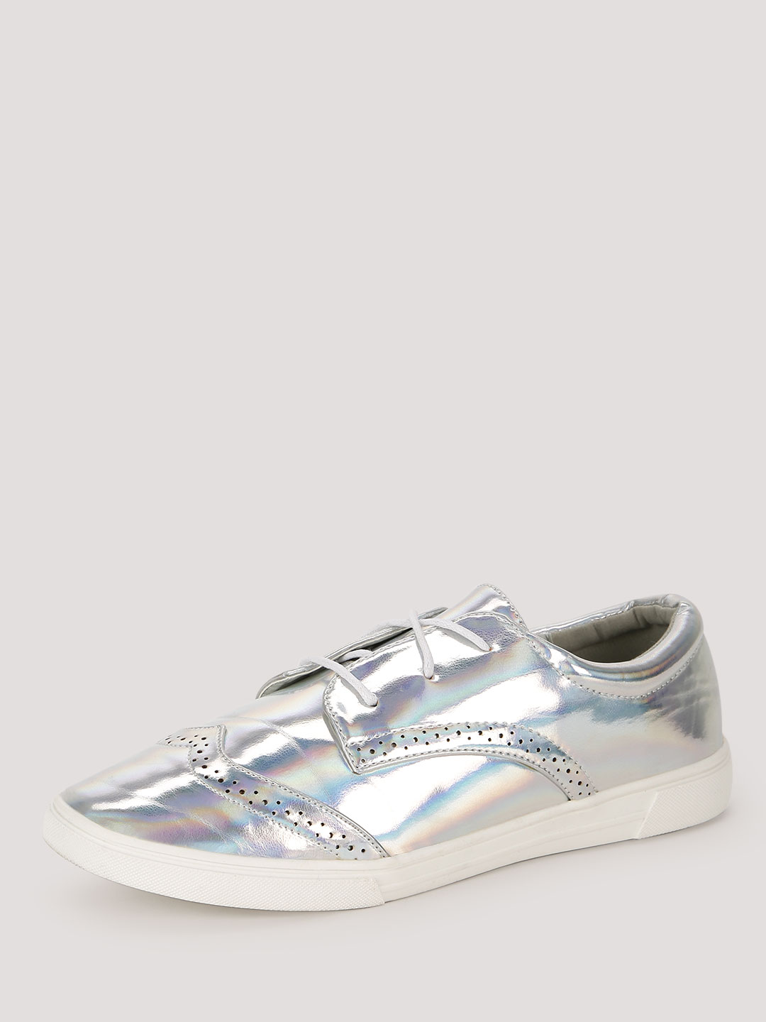 Sole Story Silver Brogue Detail Metallic Trainers 1