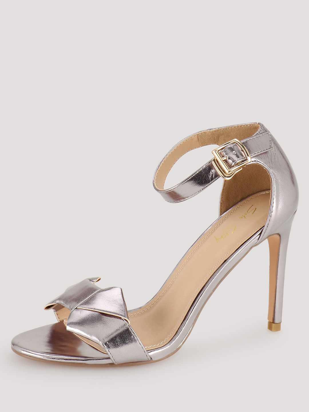 Sole Story Silver Bow Detail Metallic Heeled Sandals 1