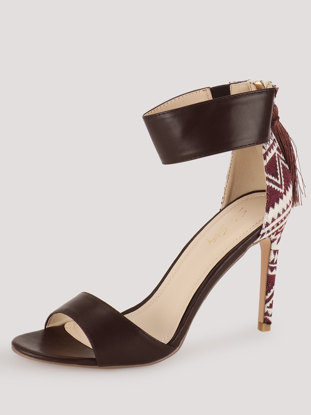 Sole Story Burgundy Aztec Detail Ankle Cuff Sandals 1