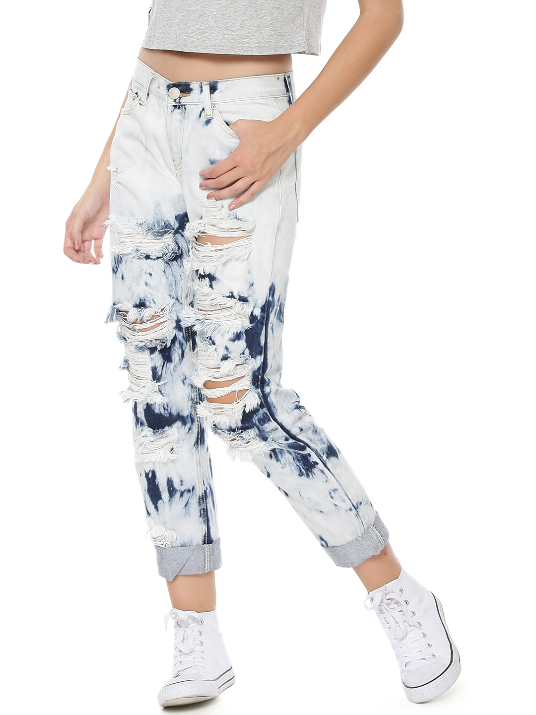 Glamorous BLEACH TIE DYE Distressed Bleach Tie Dye Jeans 1