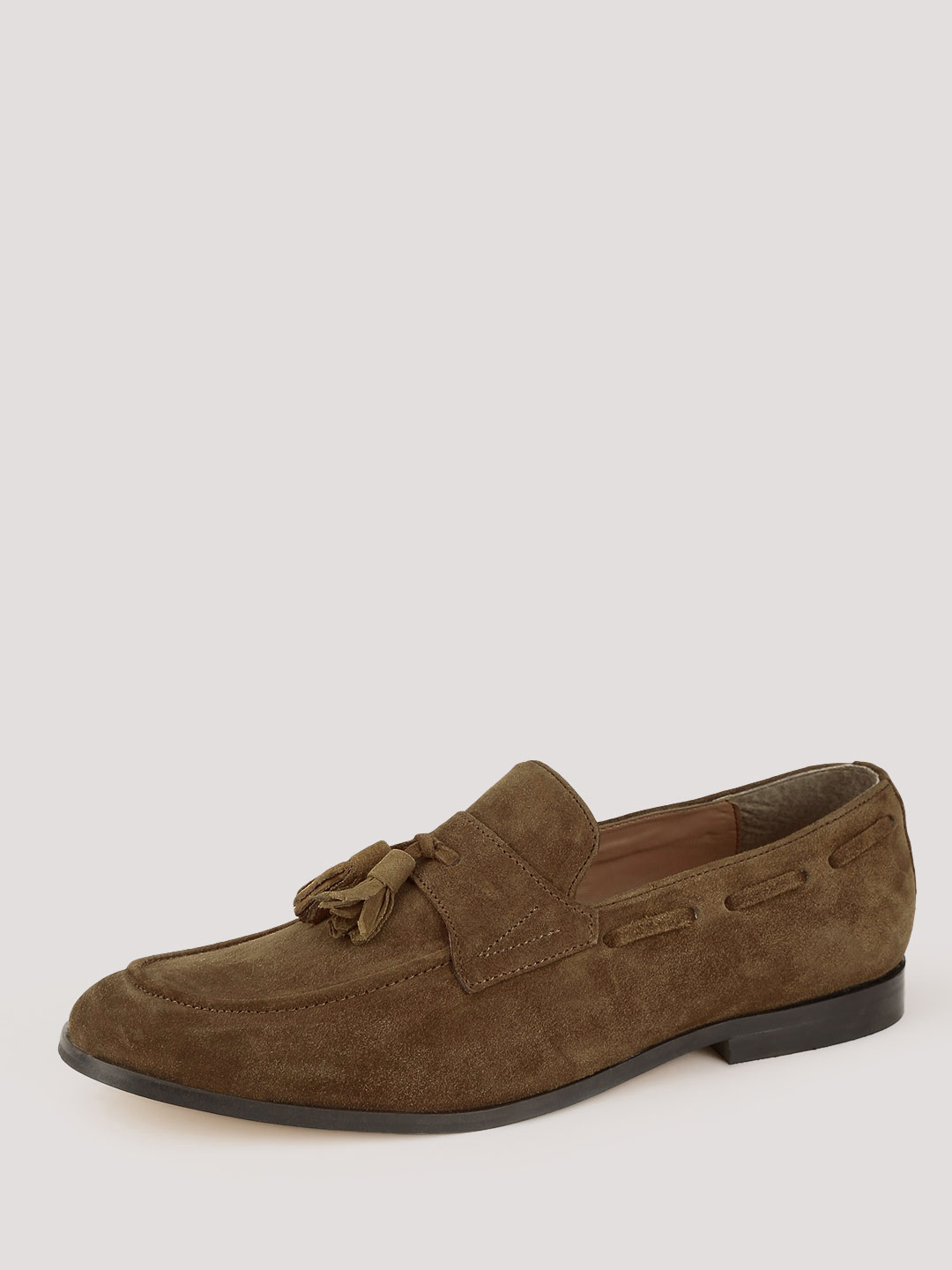 Griffin Tan Leather Tassled Moccasins 1