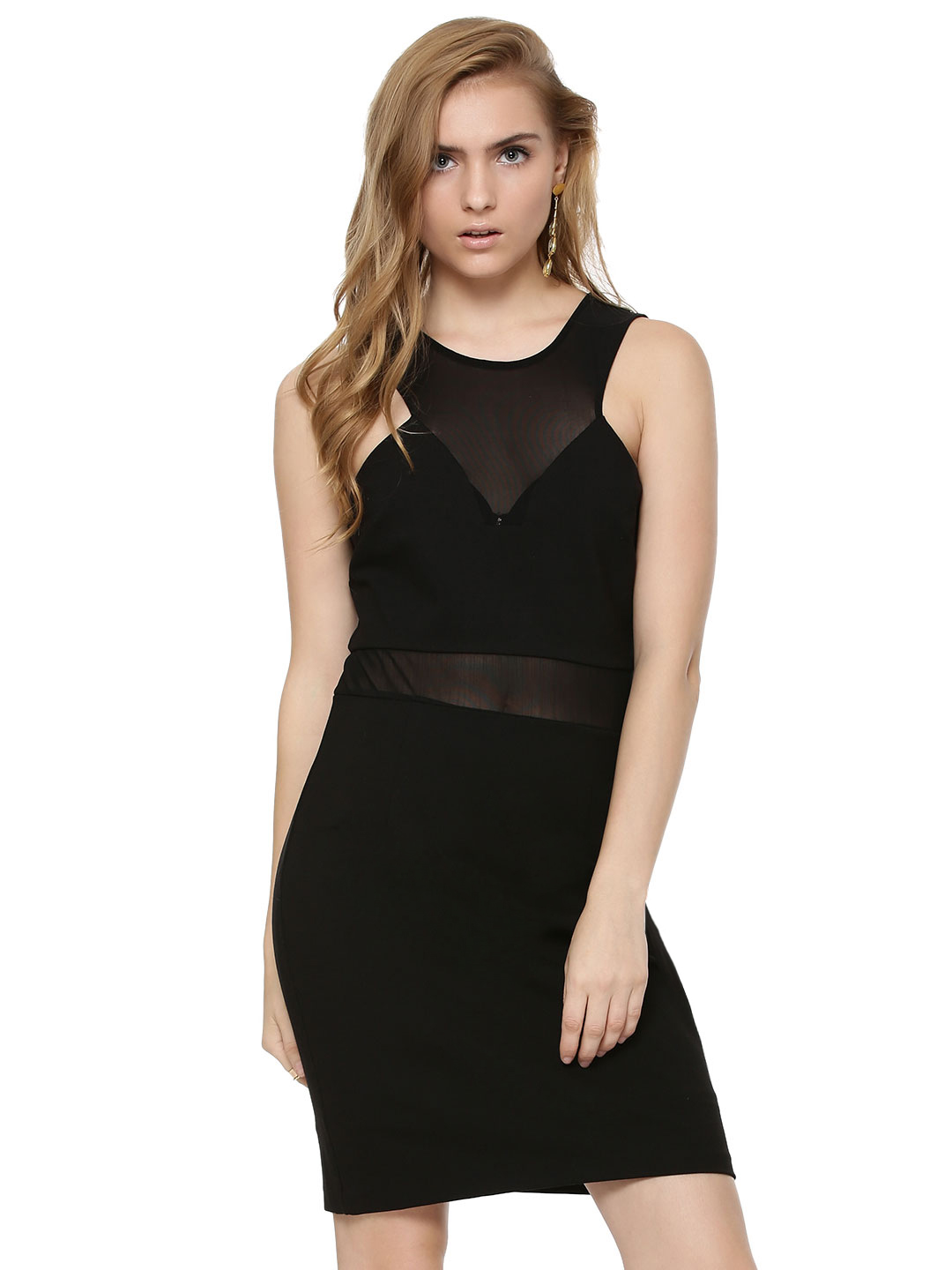 Forever New Black Sheer Panel Body Con Dress 1