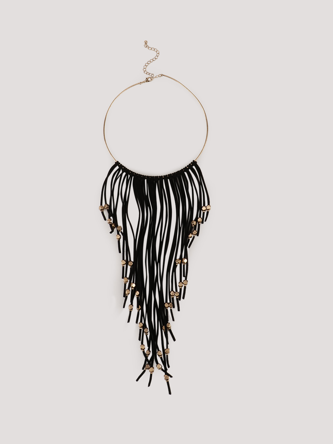 KOOVS Black Embellished Tassel Necklace 1