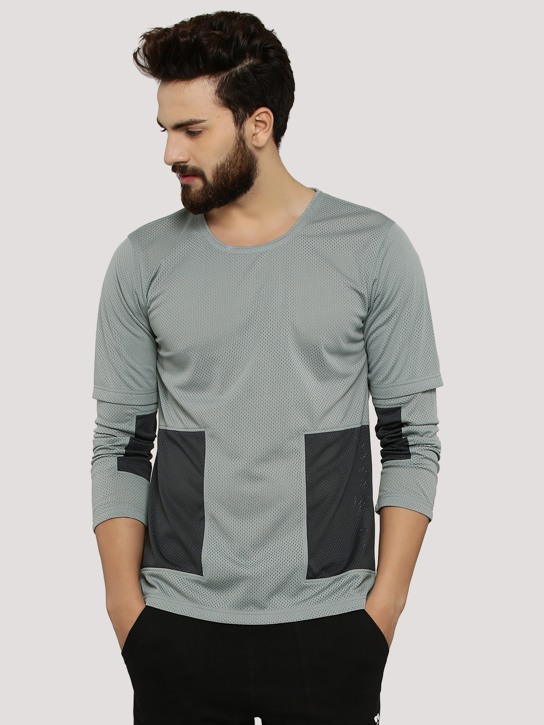 Zero.Zero Light Grey Panel T-Shirt With Double Layer Sleeves 1