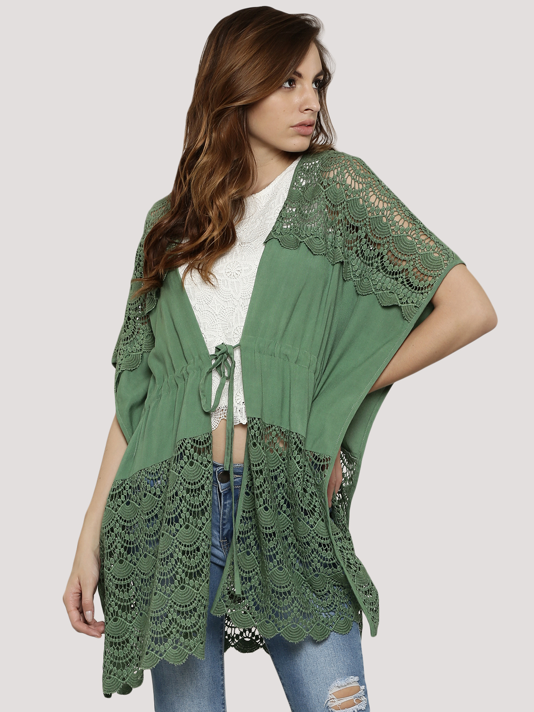 KOOVS Green Tie Waist Lace Panel Cover Up 1