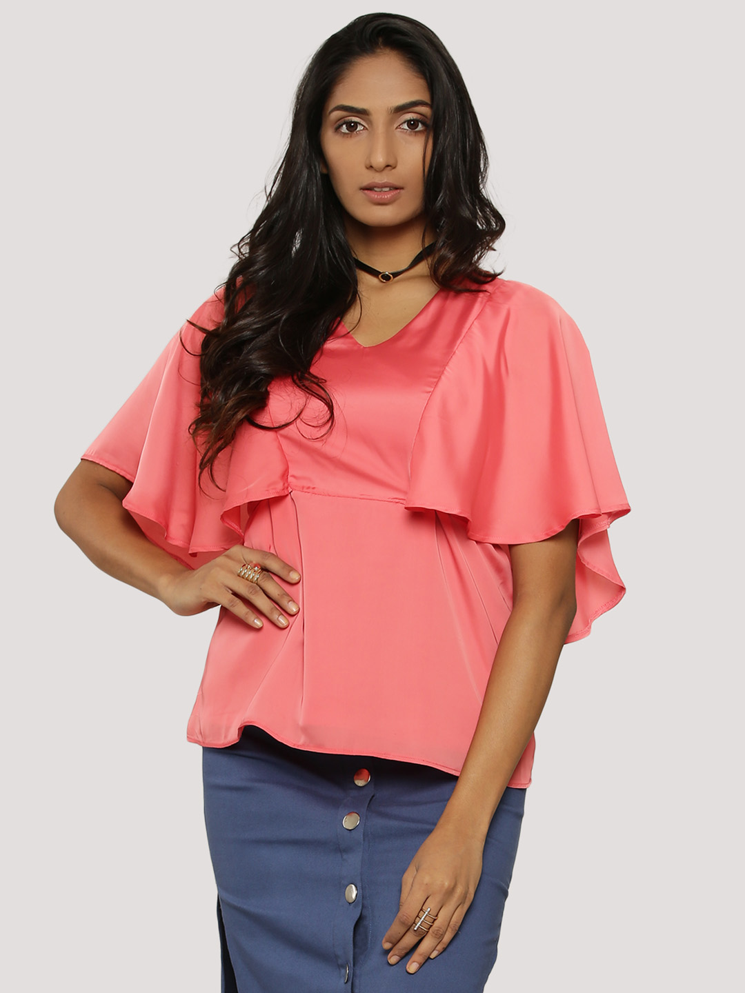 KOOVS Pink Angel Sleeve V-Neck Top 1