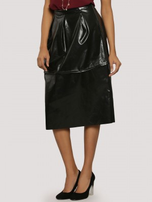 KOOVS PU Raw Edge Midi Skirt...