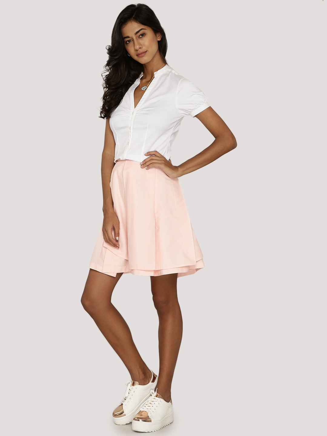KOOVS Pink Pleated Overlay Skater Skirt 1