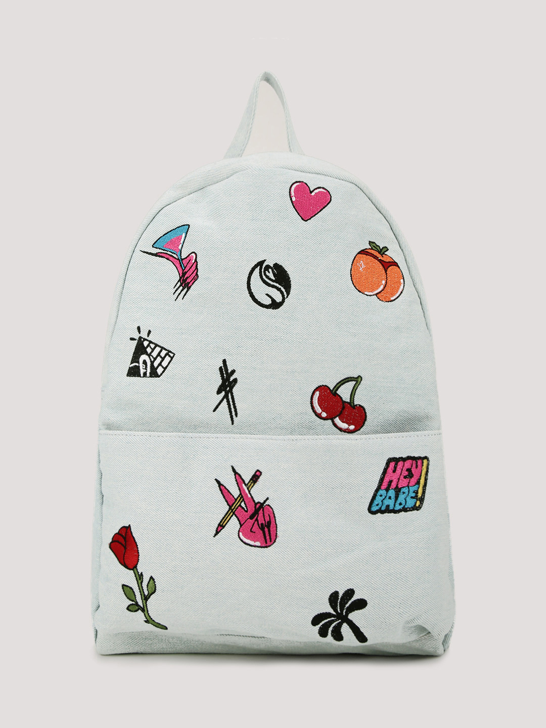 HATTIE X KOOVS Blue Denim Embroidered Backpack 1