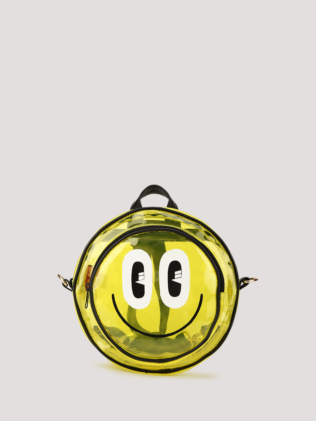 HATTIE X KOOVS Yellow Round Smiley Face Backpack 1