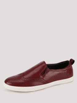 Griffin Leather Brogues Slip-ons with Side Zip Detailing