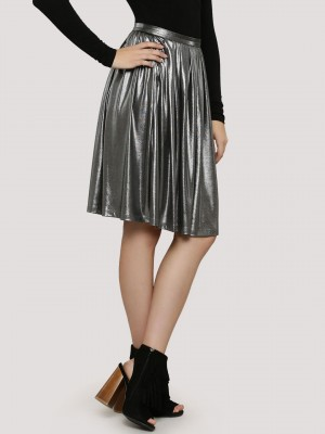RIDRESS Metallic Pleated Skirt...