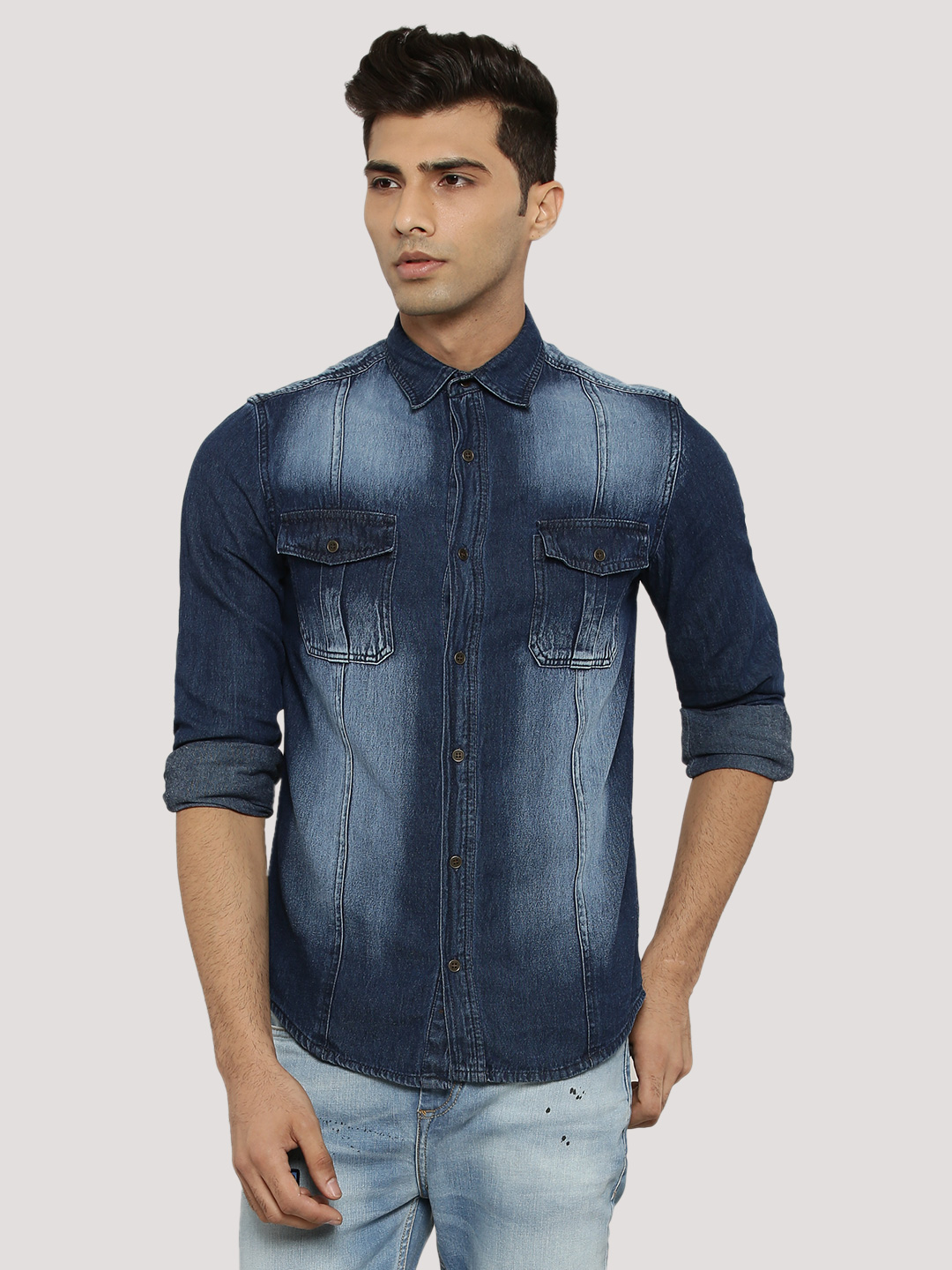 Atorse Blue Washed Denim Shirt With Twin Pockets 1