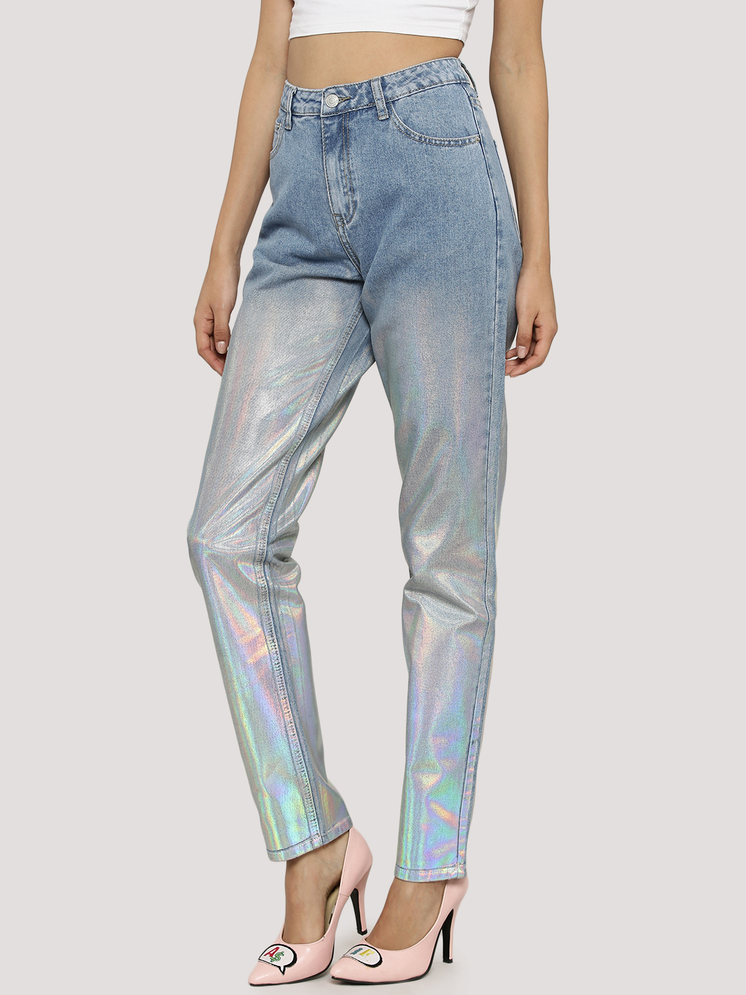 Glamorous Light blue wash Holographic Jeans 1