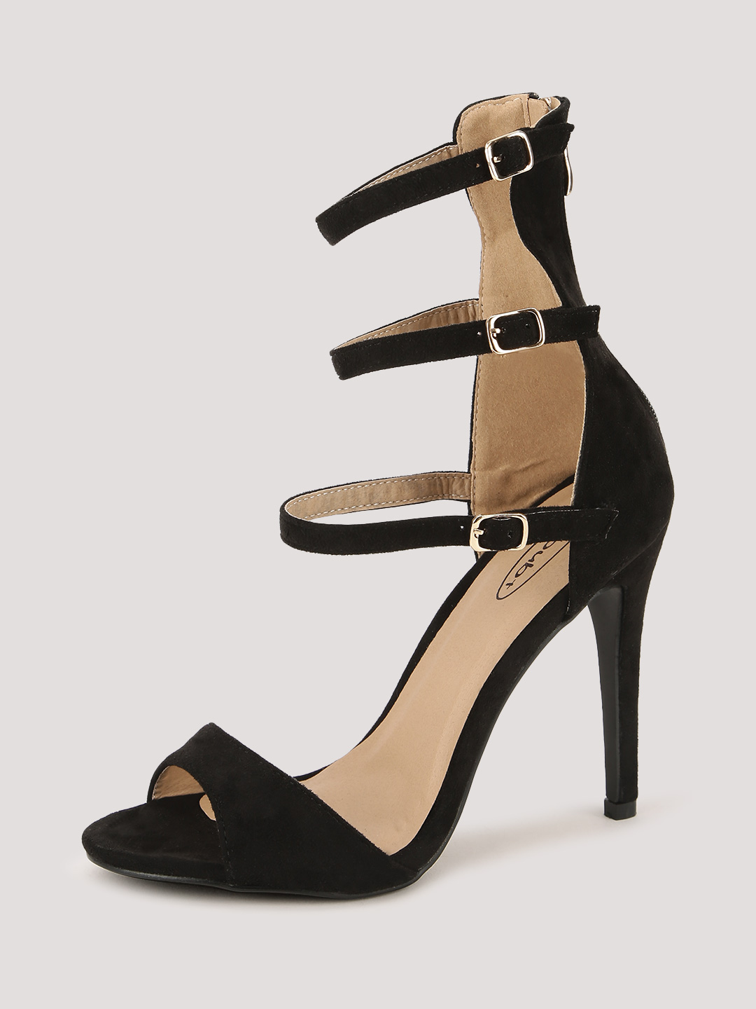 No Doubt Black Multi Ankle Strap Heeled Sandals 1