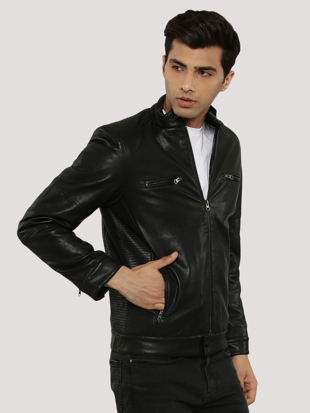 Fort Collins Black Quilted Biker Jacket In Faux Leather 1