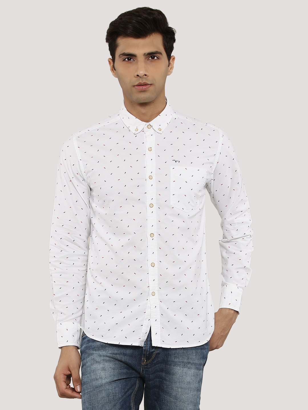 Flying Machine White Fish Motif Shirt In Slim Collar 1