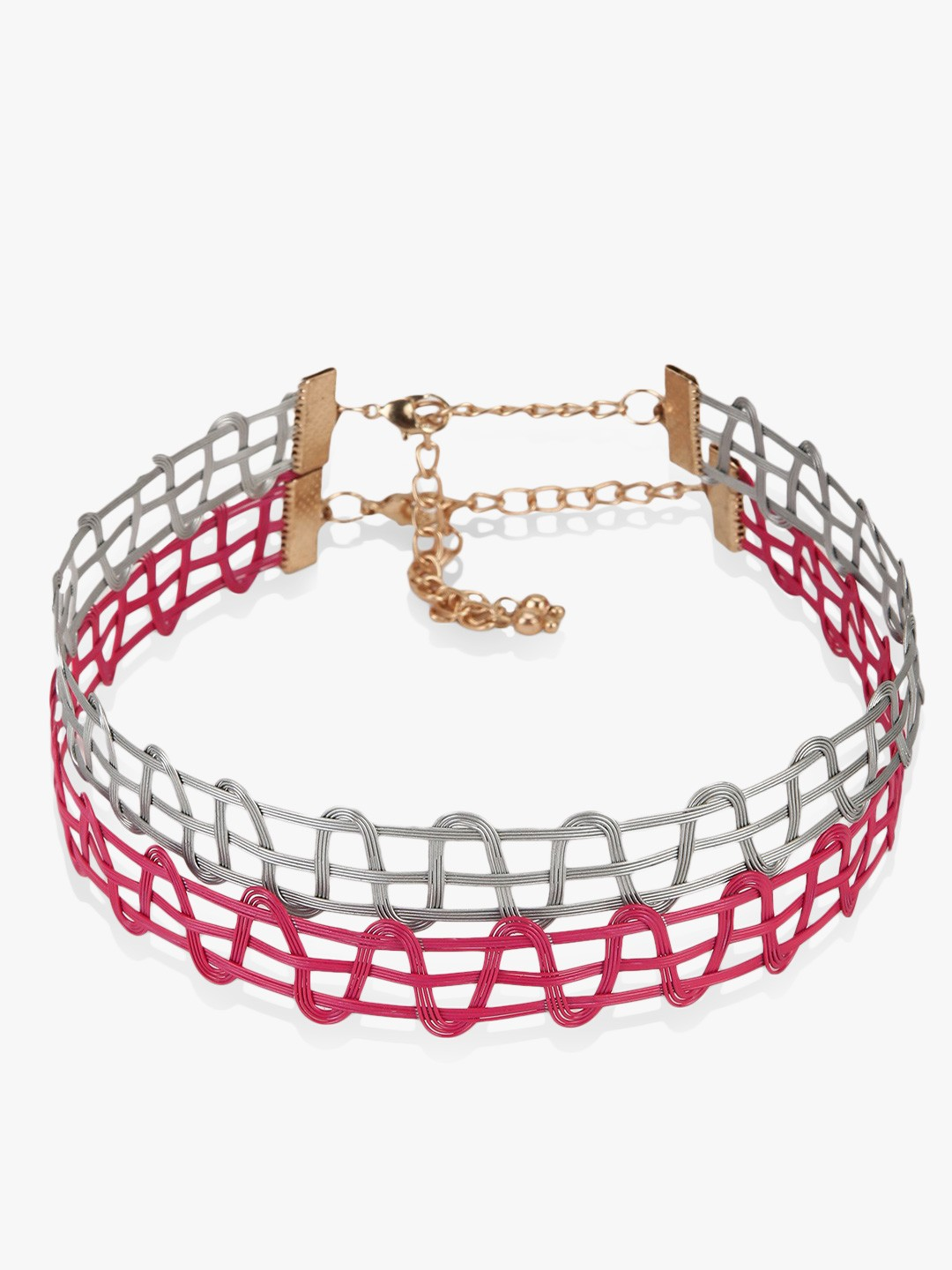 Blueberry Pink/Silver Metal Tattoo Chokers (Set Of 2) 1