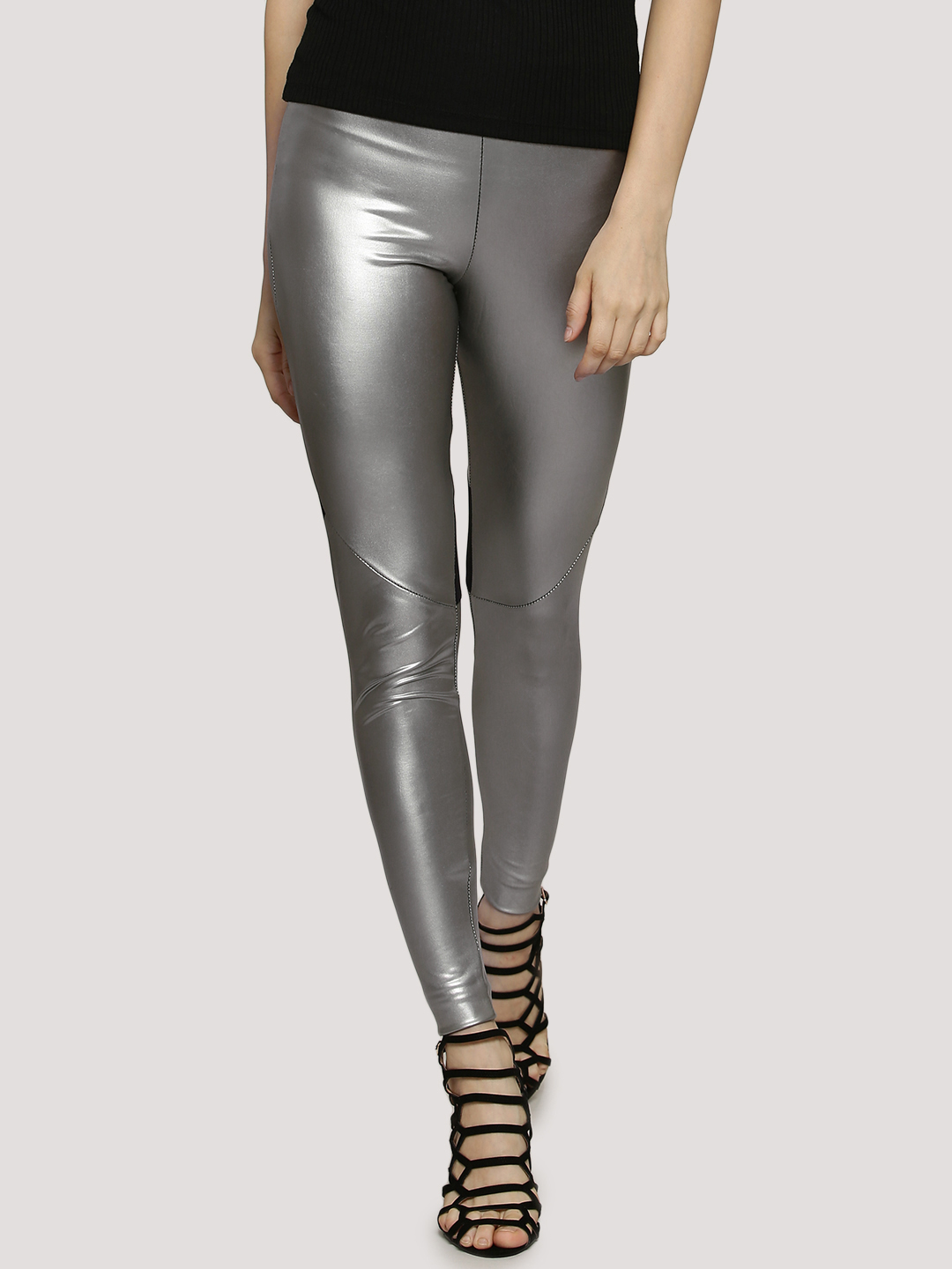 Boohoo Metallic Leggings With ...