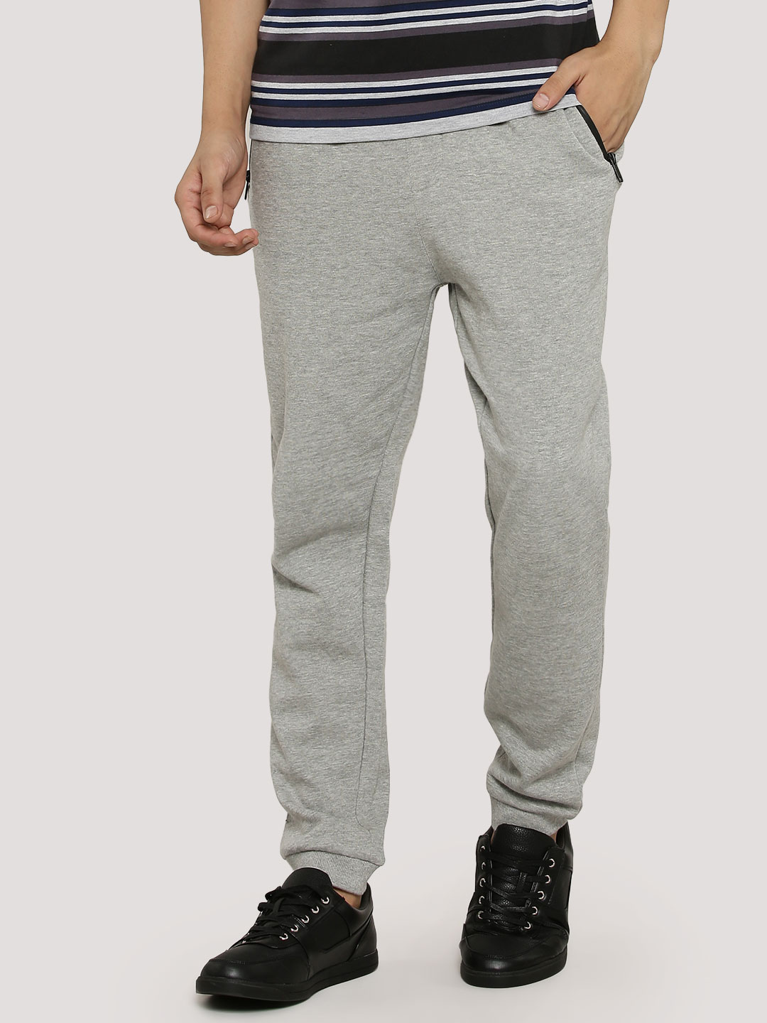 Brave Soul Grey Marl Joggers With Zip Pockets 1