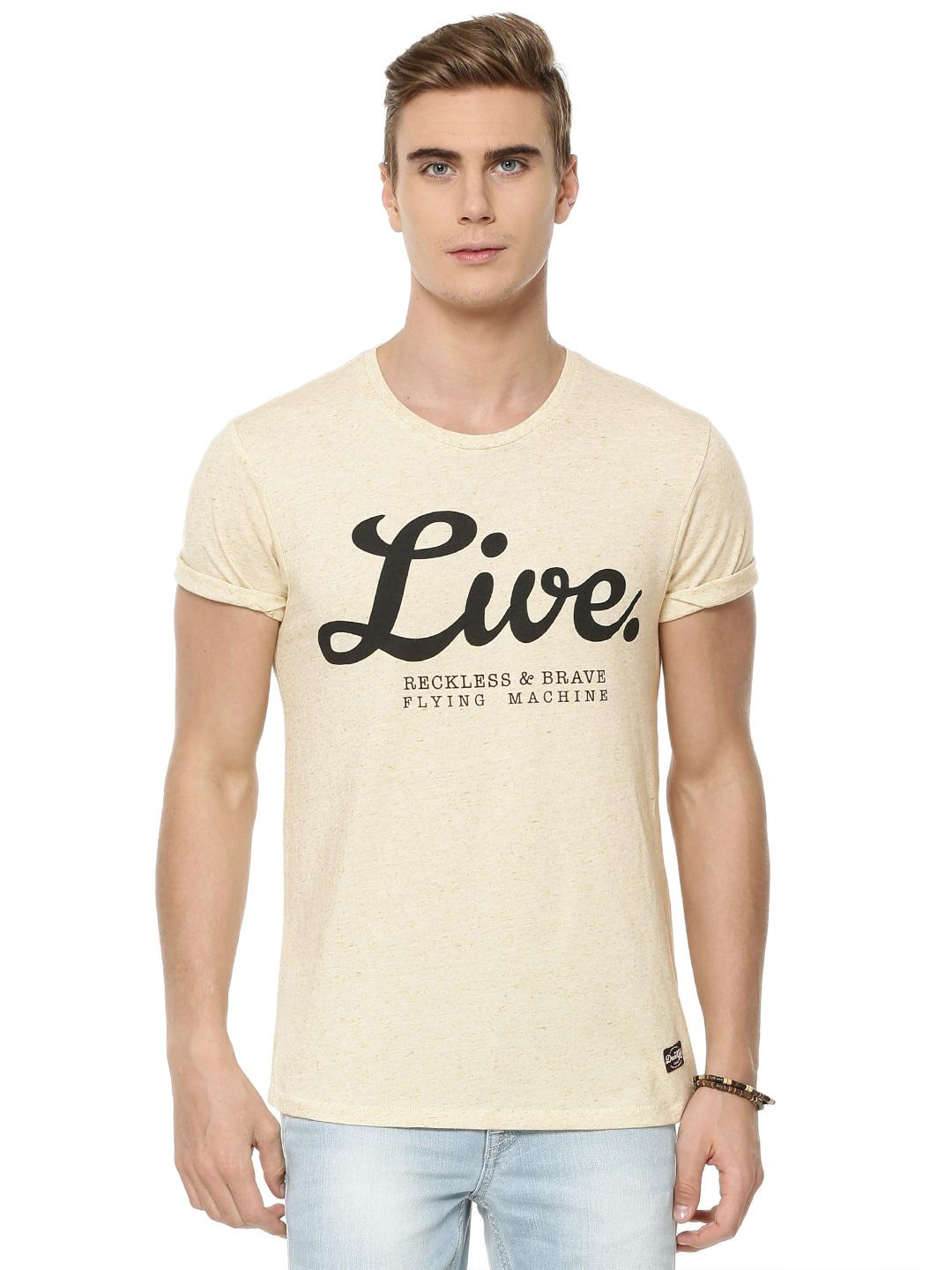 Flying Machine White Live Reckless Graphic T-Shirt 1