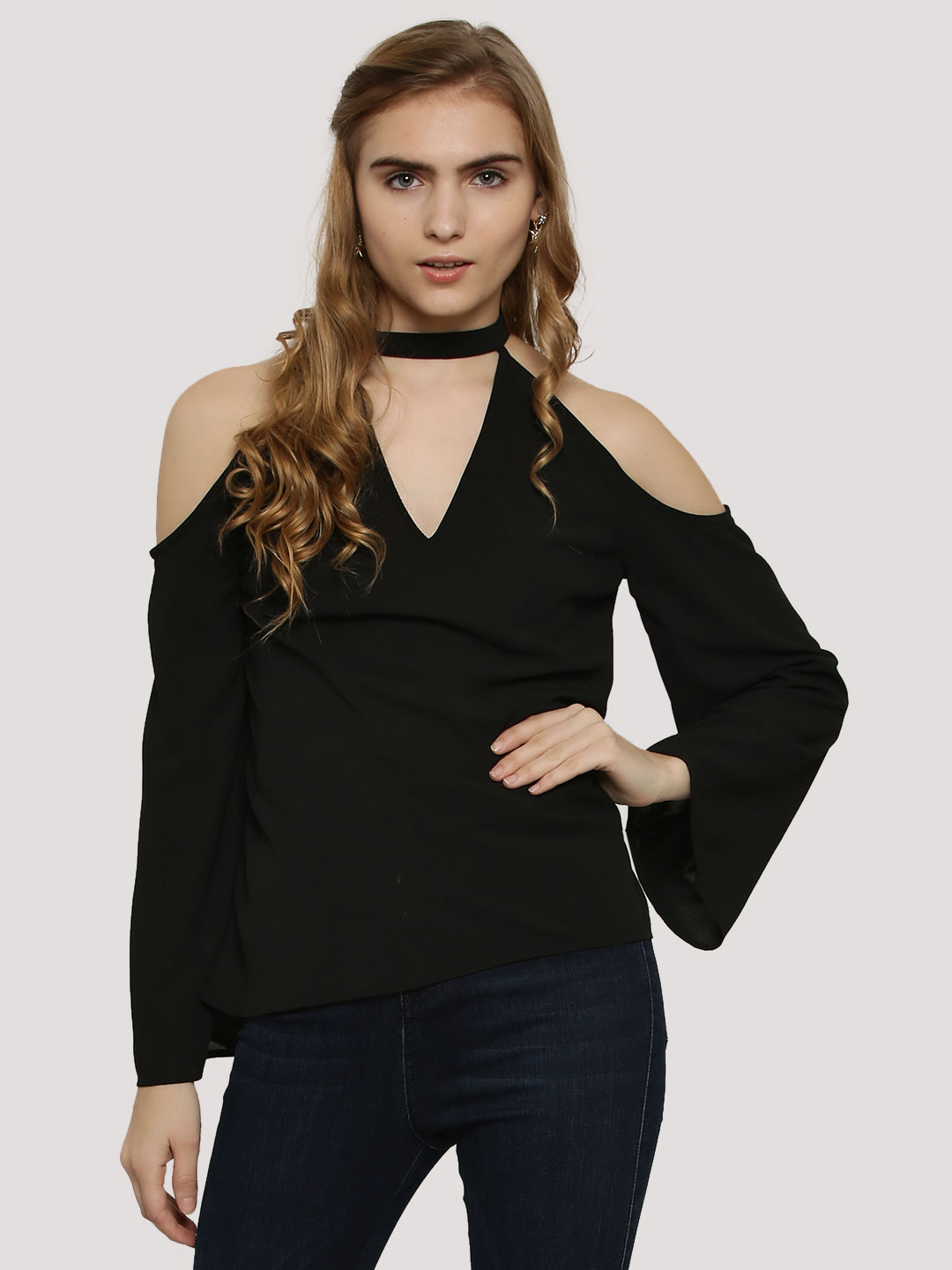 Oliv Black Choker Top With Bell Sleeves 1