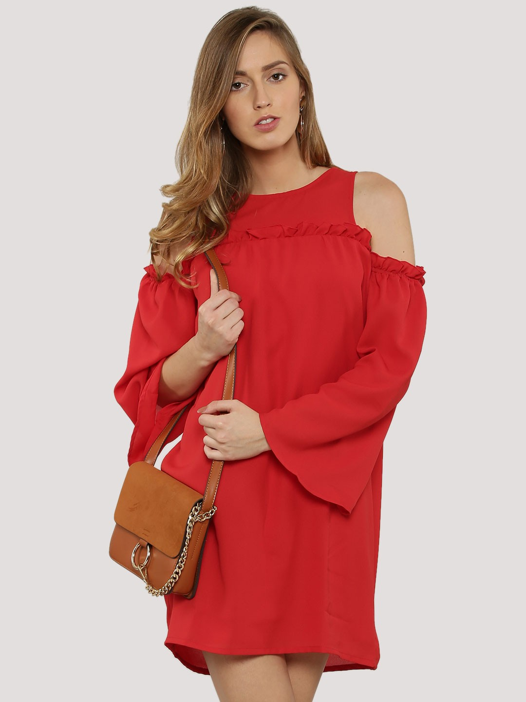Ri-Dress Red Ruffle Cold Shoulder Dress 1
