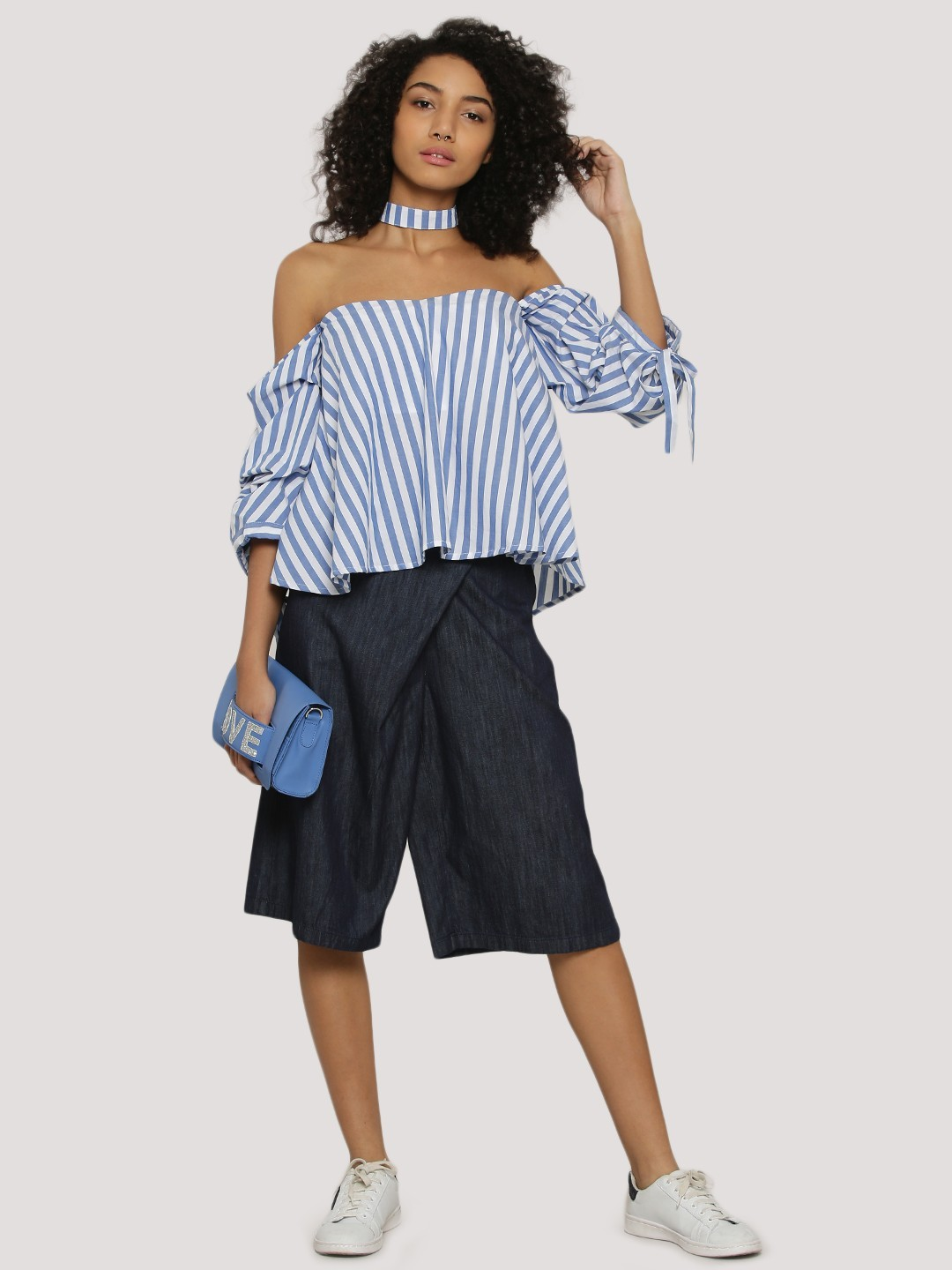 Bhaane Super dark blue wash Wrap Over Culottes 1