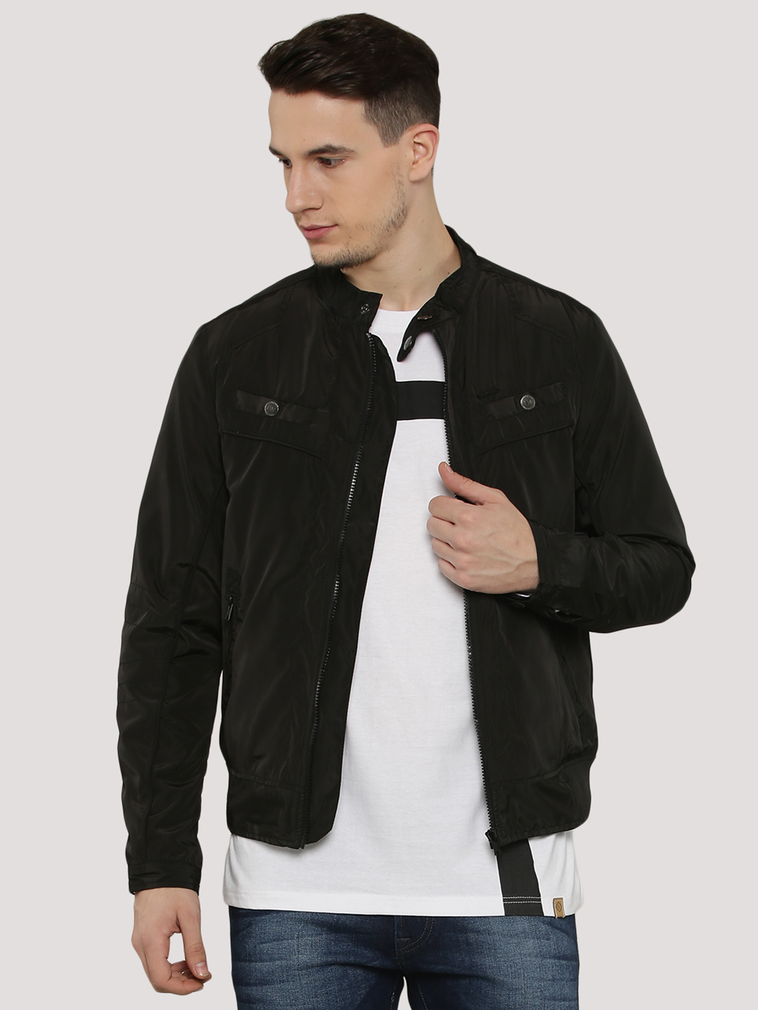 Flying Machine Black Zip Jacket With Snap Button Collar 1