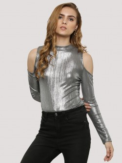 Glamorous Cold Shoulder Metallic Bodysuit