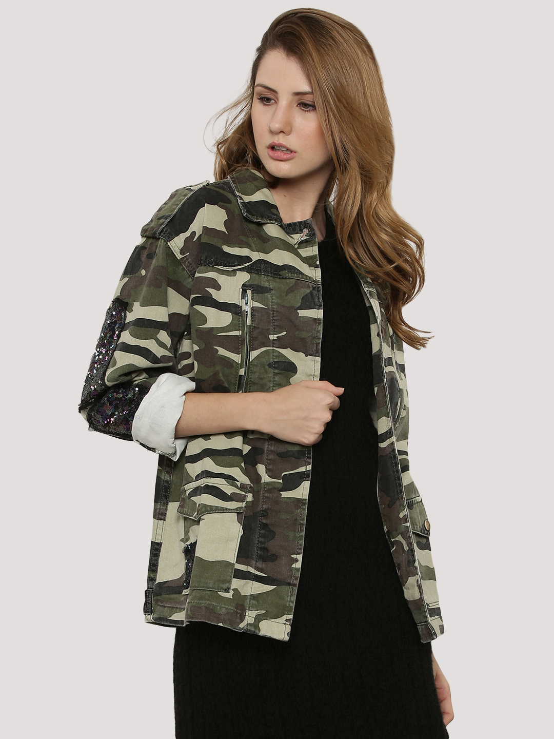 Glamorous Camo Camo And Sequin Patch Jacket 1