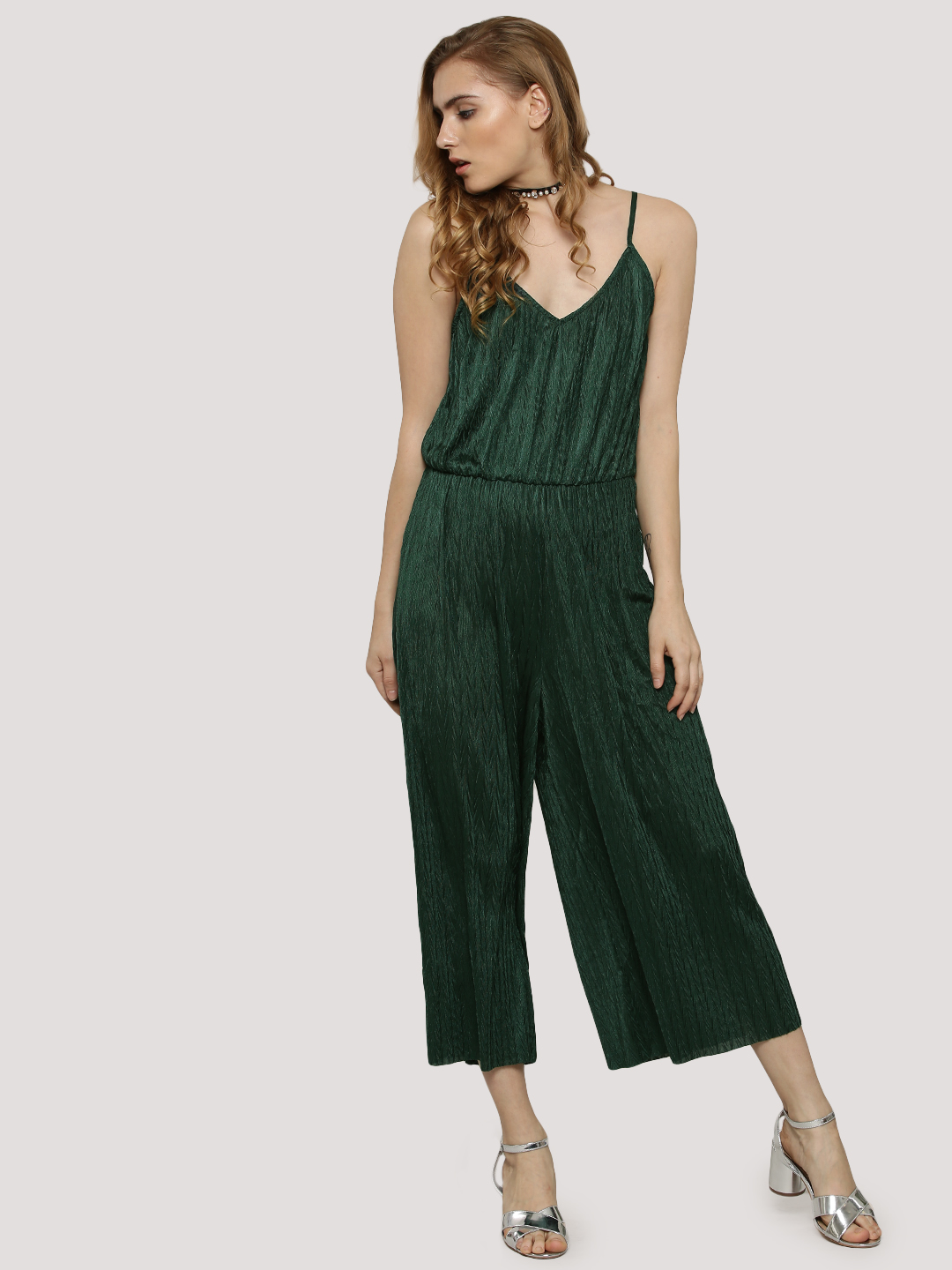 Glamorous PINE GREEN Pleated Jumpsuit 1