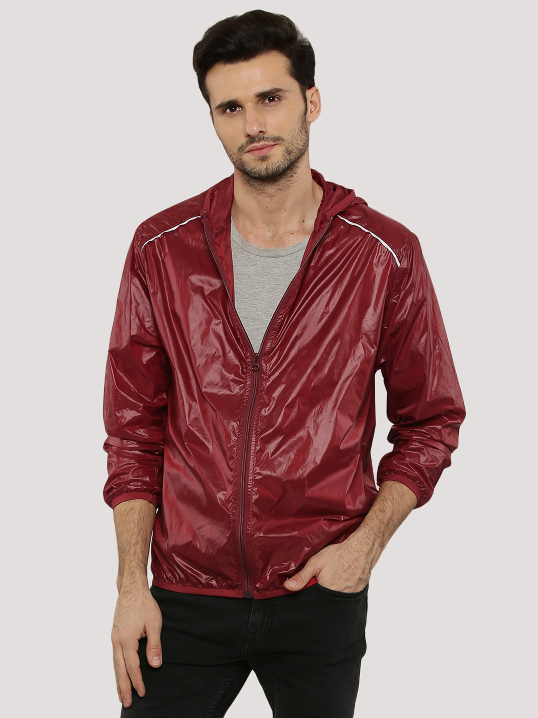 Zobello Ruby Red Casual Solid Windcheater Jacket 1