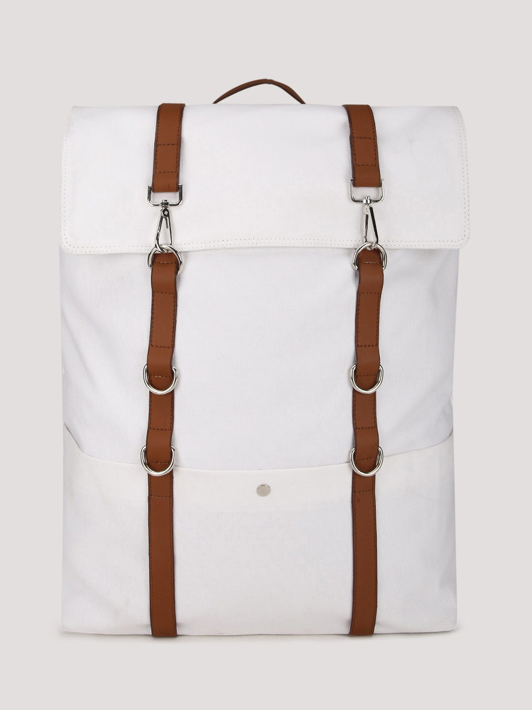 Rivet WHITE/TAN Contrast Strap Backpack With Laptop Panel 1