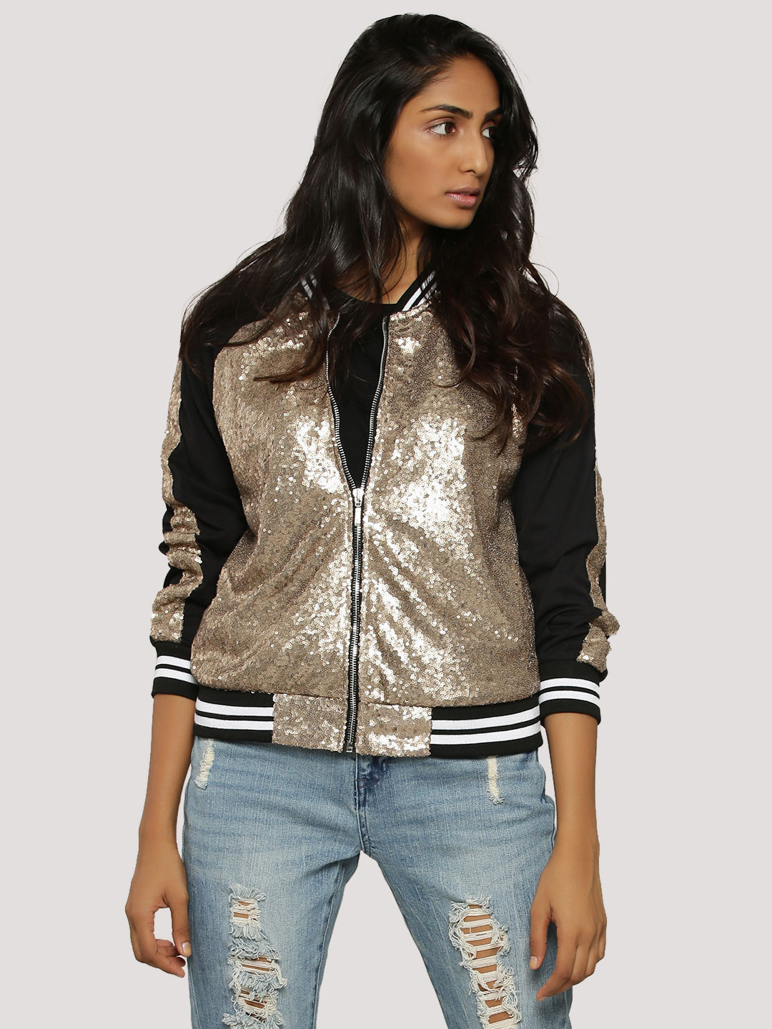 Spring Break Gold & Black Sequins Bomber Jacket 1