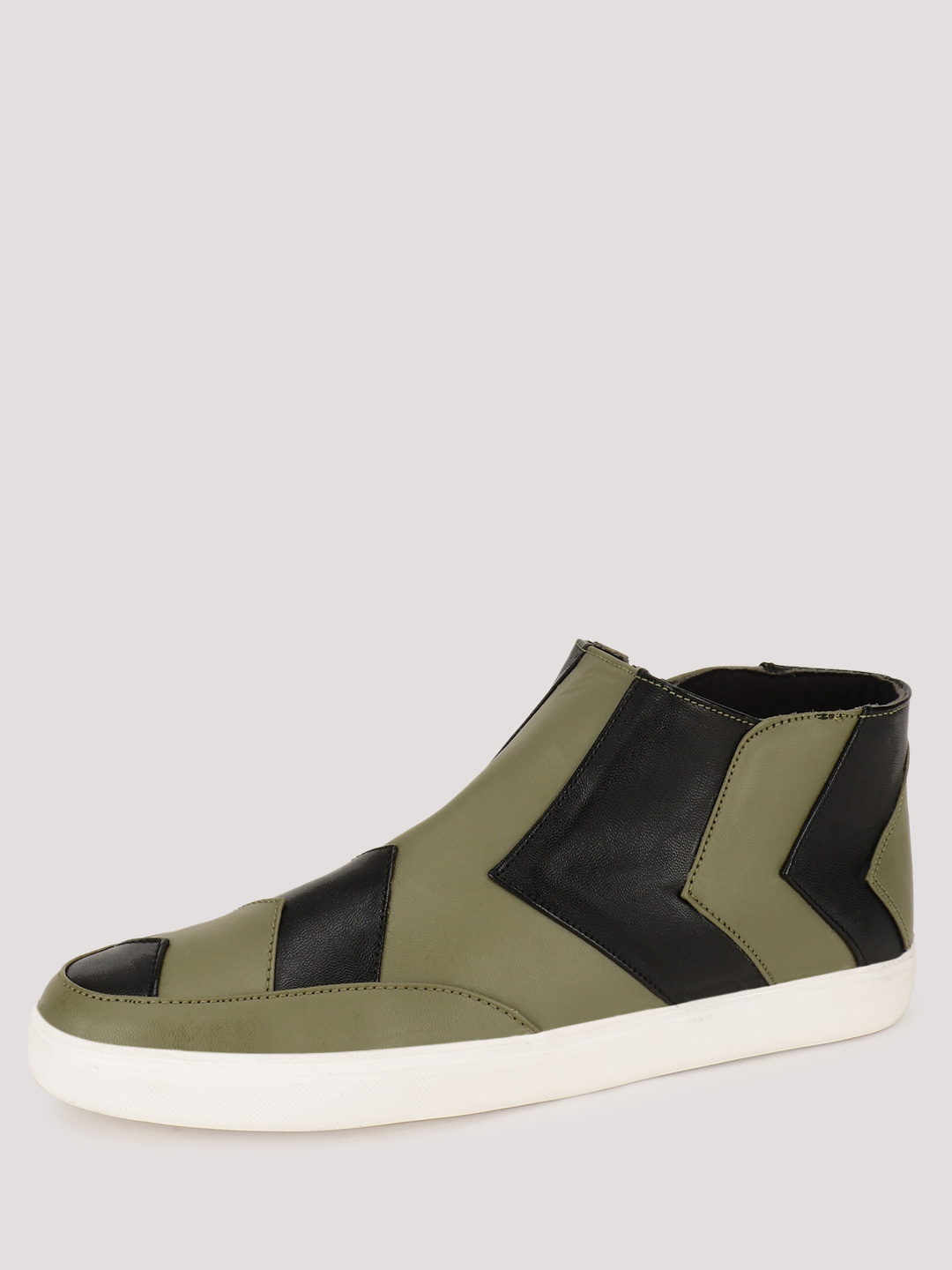Heckler Military Green  Hi Top Slip Ons With Chevron Pattern 1